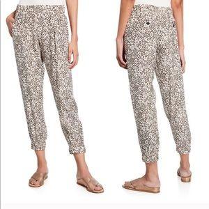 ATM 100% Silk Leopard Print Jogger Pants M